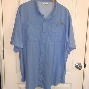 Columbia blue PFG fishing shirt sz XXL
